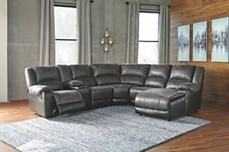 Ashley Furniture Nantahala 6-Piece Reclining Sectional with Chaise, Slate