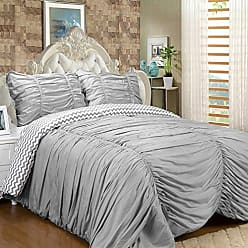 Sweet Home Collection Luxurious 7Piece Rouched Reversible to Chevron Print Comforter & 4Piece Sheet Set Comforter with Matching Sheet Set, Queen, Gray,Queen