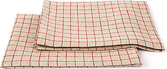 LinenMe Gingham X2 Tea Towels, 17 by 27-Inch, Natural/Red