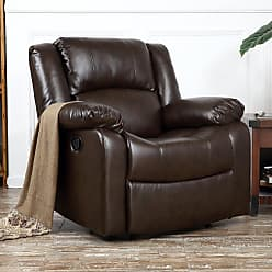 Overstock Belleze Deluxe Padded Brown Faux Leather Recliner Chair Lounge Club (Brown)