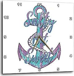 3D Rose Macdonald Creative Studios - Nautical - Vintage Style Nautical Anchor with Salty But Sweet Coastal Beach Quote - 13x13 Wall Clock (DPP_299233_2)