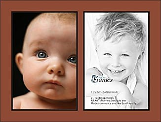 Art to Frames Collage Photo Frame Double Mat with 2 - 12x18 Openings and Satin Black Frame