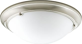 PROGRESS Eclipse Brushed Nickel 3-Lt. close-to-ceiling fixture. with Satin white glass bowl