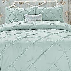 Elegant Comfort Wrinkle Resistant - All Season Luxury Silky Soft Pintuck 3-Piece Comforter Set - Full/Queen, Misty Blue