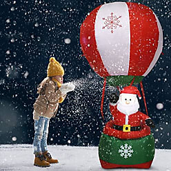 Costway 6 Christmas Decoration Inflatable Santa Claus Hot-air Balloon Lighted Outdoor, Red