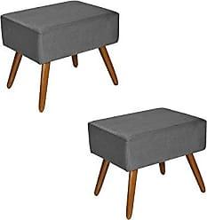 Kaza do Sofá Kit 2 Puffs Decorativos Dubai Suede Cinza - Kasa Sofá