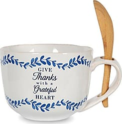 Pavilion Gift Company 86108 Give Thanks Ceramic Soup Bowl with Bamboo Spoon, 20 oz, Multicolored