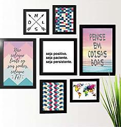 Los Quadros Kit de Quadros Decorativos 7 Peças Seja Positivo Los Quadros Preto