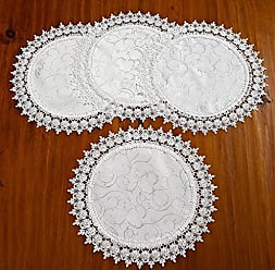 Violet Linen Flower Bow Embroidered Lace Vintage Design Placemat, Set of 4, 16 Round, White