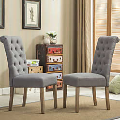 Round Hill Furniture Habit Tufted Parsons Dining Chair - Set of 2 Gray - C161GY