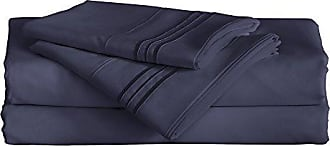 Furinno Angeland Vienne (3 Piece) Microfiber Bed Sheet and Pillowcase Set, Twin, Navy Blue