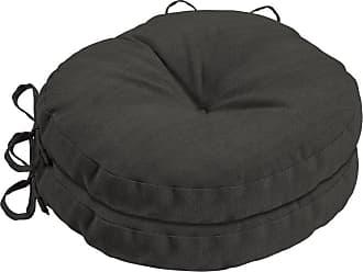 Belham Living Acrylic 15 in. Round Bistro Outdoor Seat Cushion - Set of 2 Graphite Gradated Stripe - AH1F465B-D9H2