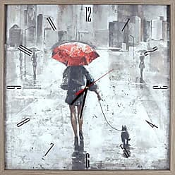 Art Maison Canada Figurative Red Umbrella I Print Framed Texture Decorative Silent Art Clock