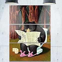 DESIGN ART Designart MT9005-3PV Bear in The Woods Animal Digital Metal Wall Art (3 Panels), 28 H x 36 W x 1 D 3P, Brown/Black