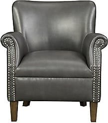 Emerald Home Furnishings Emerald Home Oscar Gray Accent Chair with Faux Leather Upholstery And Nailhead Trim