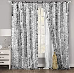 Duck River Textile Home Maison - Sloane Geometric Linen Textured Grommet Top Window Curtains for Living Room & Bedroom - Assorted Colors - Set of 2 Panels (38 X 96 Inch - Grey)