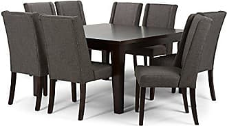 Simpli Home Simpli Home AXCDS9SB-GL Sotherby Contemporary 9 Pc Dining Set with 8 Upholstered Dining Chairs and 54 inch Wide Table