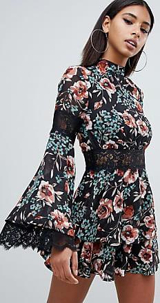 Vestido Multicolor Tarde De Encaje Cuello Subido Missguided Y Estampado Con Floral dqvAO7ExBn