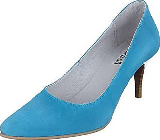 Gr design 39 5453a Damen Leder Wildleder Hellblau High Schuhe Heels Ital Pumps ZHvRgH
