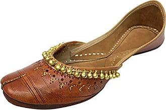 Panjabi Style Schritt Mojari N Größe40 Frauen Chappal PerlenBraunHautfarben Khussa Schuhe Kolhapuri Ghungroo Step wOyv8nN0m