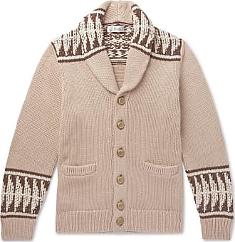 Intarsia Shawl collar Brunello Cotton Cucinelli Beige Cardigan tawqZF