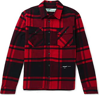Off Flannel Shirt blend Cotton Embellished Checked Red white 8Frq87B