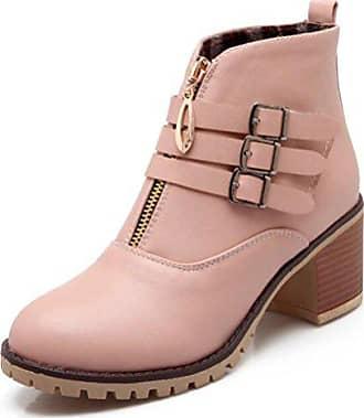 Profilsohle Rund Eu 39 Easemax Martin Boots Pink Zehe Bloackabsatz Damen Kurzschaft Riemen Hübsch Ppaa7InE