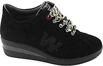 Pelle In Scarpa Zeppa R25802 Made Nero Sneaker Donna Italy Melluso IDEY2H9W