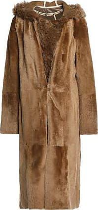 de Abrigo marrón Yves Salomon reversible talla claro con de capucha 42 piel oveja FFgpERq