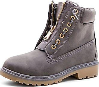 Boots Stiefeletten 36 Mit Grau Schlupf Marimo Damen Worker Reißverschluss In Lederoptik 7bf6gy