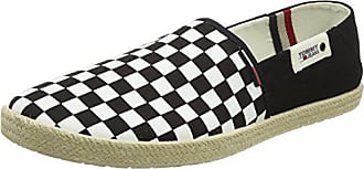 41 Eu black Hilfiger Denim Tommy On Check 901 Homme Slip White Mocassins Noir Shoe Jeans qOvCTT6