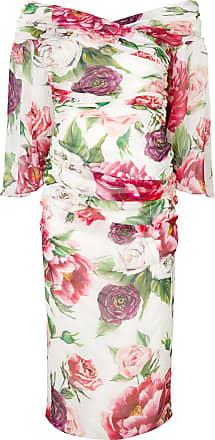 Gabbana Blanc amp; Fleurs Mi Moulante À Robe Dolce longue 65xwO8xz