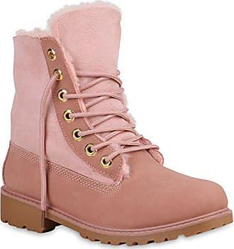 Schuhe 152740 Stiefelparadies Gefüttert Boots Damen Profil Sohle Worker Rosa Warm Amares 40 Stiefeletten Flandell z165w6