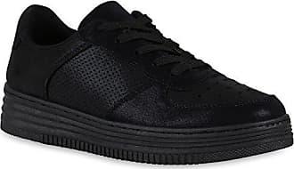 Sport Stiefelparadies Schuhe Sneaker 38 Bernice 143806 Flandell Schwarz Sneakers Damen Prints Plateau 11pIa