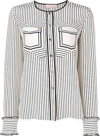 Shirt Burch Button Striped Tory Blanc wgH6Cq