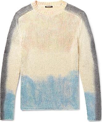Slim Balmain Sweater Tie blend Silk fit Linen dyed White And RRdxaq8rw