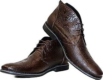 Leder Handgemachtes Chukka Modello Stiefel Rindsleder Herren Braun Geprägtes Yalloka39 Italienisch Peppeshoes Schnüren Stiefeletten A54j3RL
