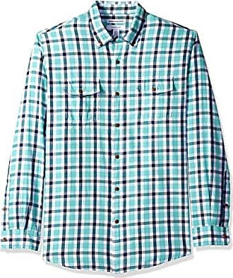 Con Xs Fit talla Talla Xxl navy Verde Amazon Regular Camisa Sarga Fabricante Plaid Gnp Manga Bolsillos green Única Essentials Dos Larga Del w1qRT0