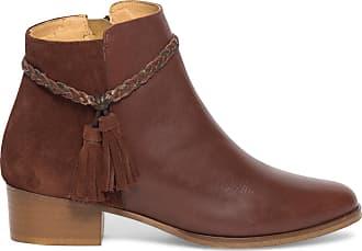 Éram Boots Marron Pompons Éram Cuir Boots Pompons 4q4PH