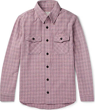 Silk Pink blend Elk Visvim Shirt Checked Black Linen Wool Flannel And YvqPx4w
