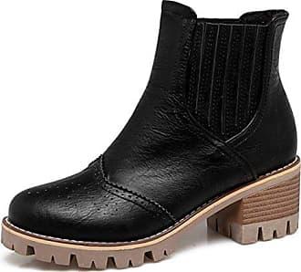 Brogue Sport Blockabsatz Aisun Stiefel Boots Freizeit Perforiert 38 Martin Eu Plateau Kurzschaft Damen Schwarz YT55qxg