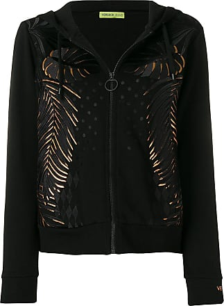 Embroidered Versace Zipped Hoodie Couture Noir Leaf Jeans rAtfAR
