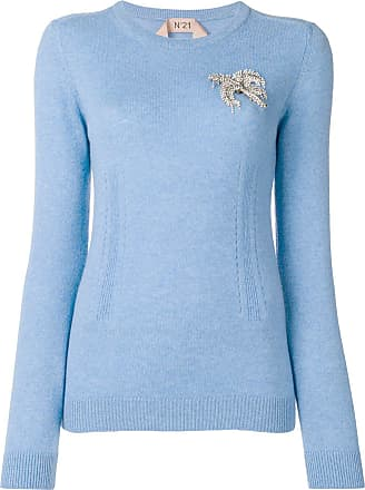 sleeve Long Sweater Embellished Bleu N°21 0Cw1qn