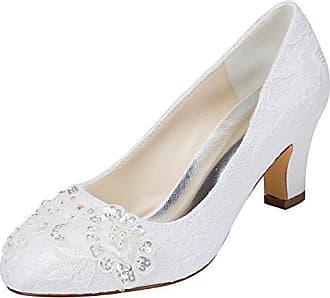 Emily Geschlossene Stitching White Heel eu36 Zehe Mit Pailletten Lace Bridalwear Satin Brautschuhe Damen Chunky rrSaqw