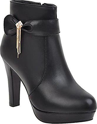 Damen Schleife High 34 Shoes Heels Schwarz Boots Plateau Mee Ankle qFxOwT