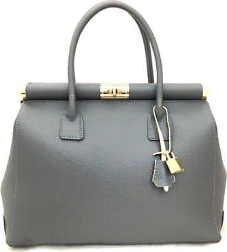 Grey Leder Chicca Aus Handgriffen Made Tutto Und Moda Italy Mit Ctm Damenhandtasche Von Schulterriemen Elegante 35x28x16cm Satchel Frau In Echtem XZXq4