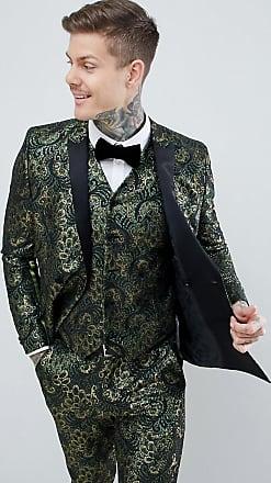 doppio Green Edition Asos Tuxedo petto Fit Jacket Floral Slim Jacquard wZqI4vg8x