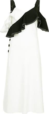 Bicolour Self Dress Portrait Blanc Neck Ruffled UU45rwaq
