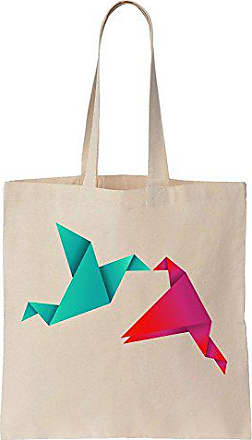 Baumwoll Birds Segeltuch Origami Prints Geometrical Bag Tote Colorful Finest Einkaufstasche qw0AfI8