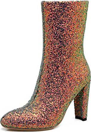 Damen Absatz Modisch Mehrfarbig Pailetten Stiefel 44 Glitzer Halbhohe Zehe Spitze Mit Eu Easemax dAgzqwnd